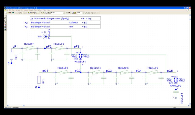 Exemplary pressure network of an arrangement