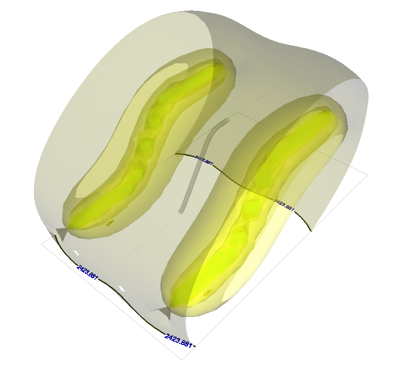 Example of a 3D representation of a calculated field